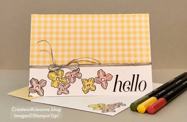 Gingham Gale DSP and watercolor flowers